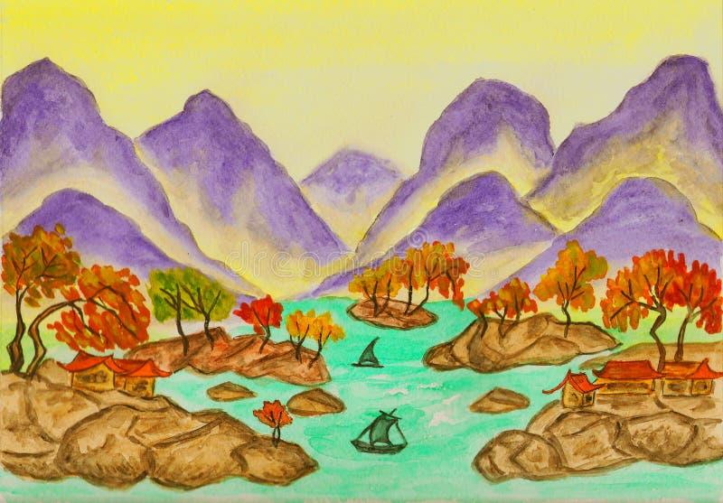 κινεζική ζωγραφική τοπίων απεικόνιση αποθεμάτων