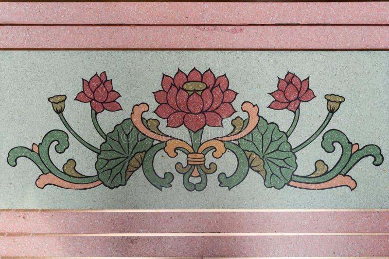 Κινεζική ζωγραφική ύφους τέχνης στον τοίχο ναών, κινεζικό pai λωτού στοκ εικόνες με δικαίωμα ελεύθερης χρήσης