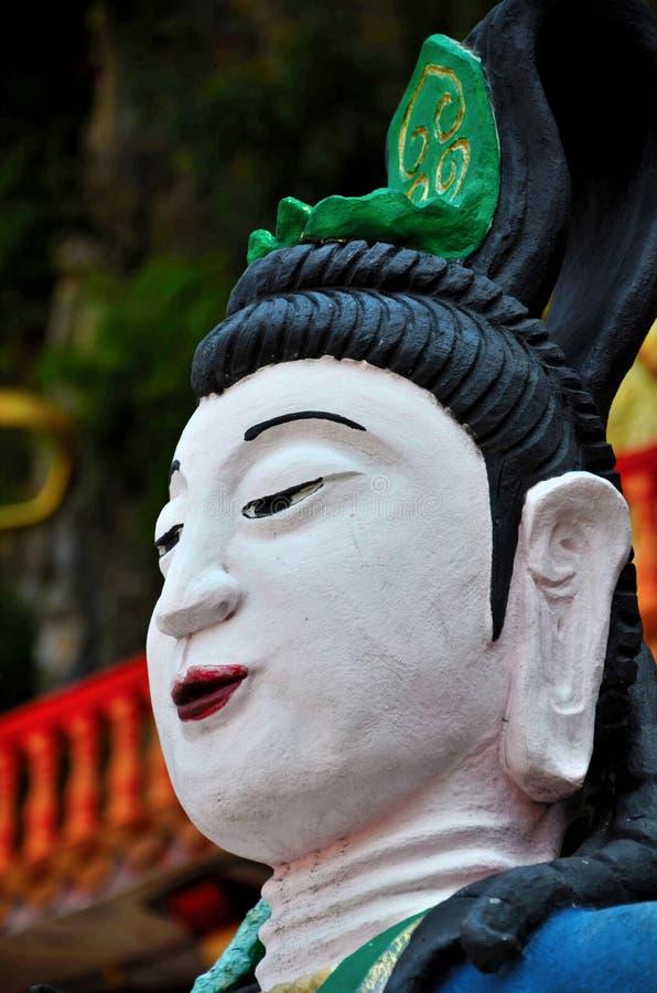Κινεζική θεά με την πράσινη τιάρα στον ταοϊστικό ναό Ipoh Μαλαισία Sen Tong μολβών στοκ εικόνες
