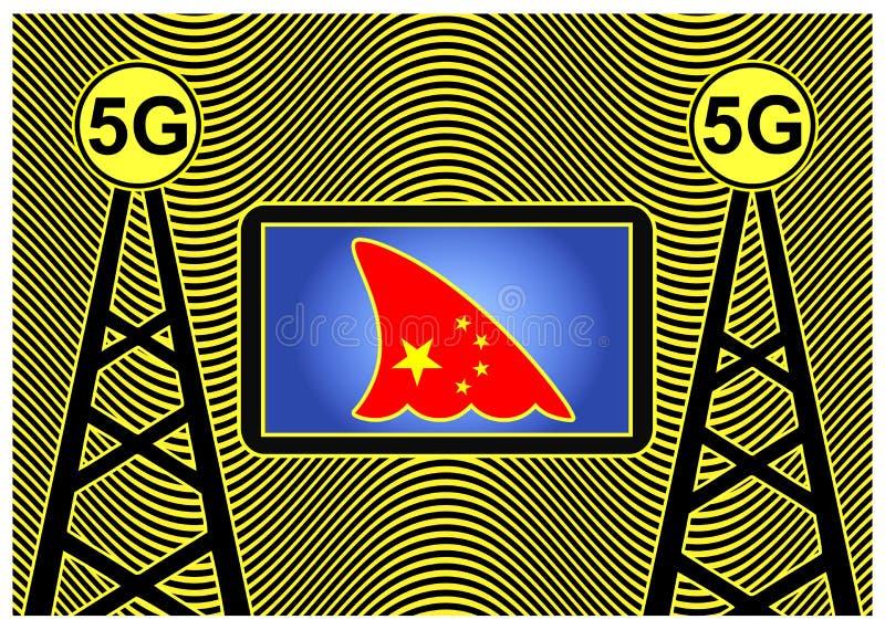 Κινεζική κατασκοπεία με την τεχνολογία 5G διανυσματική απεικόνιση