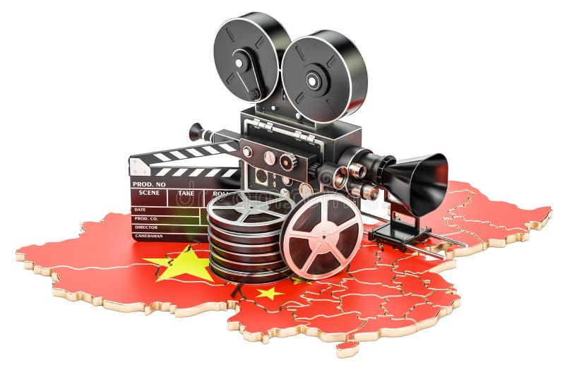 Κινεζική κινηματογραφία, έννοια βιομηχανίας κινηματογράφου τρισδιάστατη απόδοση διανυσματική απεικόνιση