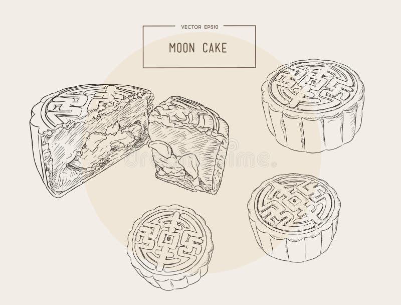 Κινεζική κουζίνα, διάνυσμα σκίτσων κέικ φεγγαριών ελεύθερη απεικόνιση δικαιώματος