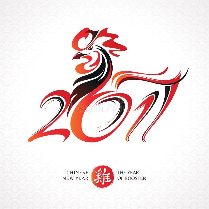 Κινεζική νέα ευχετήρια κάρτα έτους με τον κόκκορα ελεύθερη απεικόνιση δικαιώματος