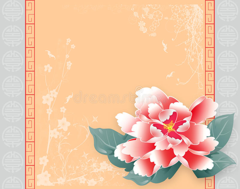 Κινεζική νέα κάρτα Peony έτους ελεύθερη απεικόνιση δικαιώματος