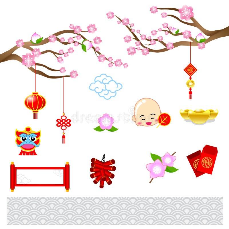 Κινεζική νέα σύγχρονη τέχνη έτους με το κινεζικό ύφος για τη διακόσμηση VE διανυσματική απεικόνιση