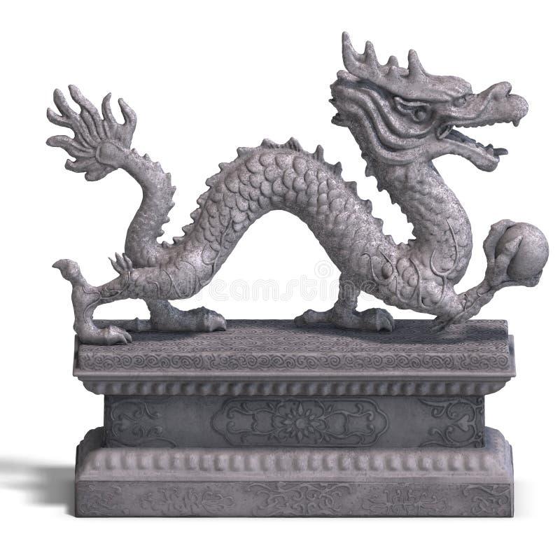 κινεζική πέτρα αγαλμάτων δράκων διανυσματική απεικόνιση