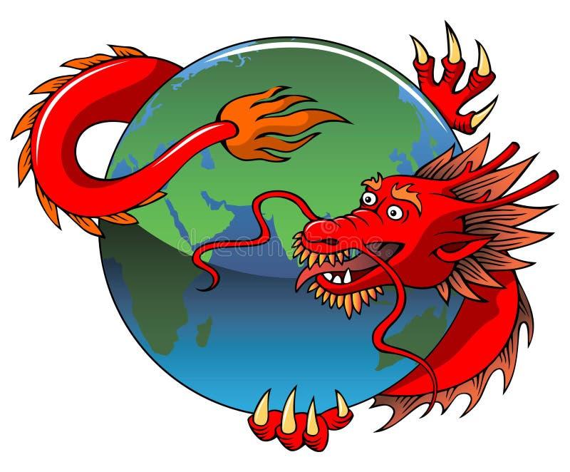 Κινεζική περιπλέκοντας γη δράκων διανυσματική απεικόνιση