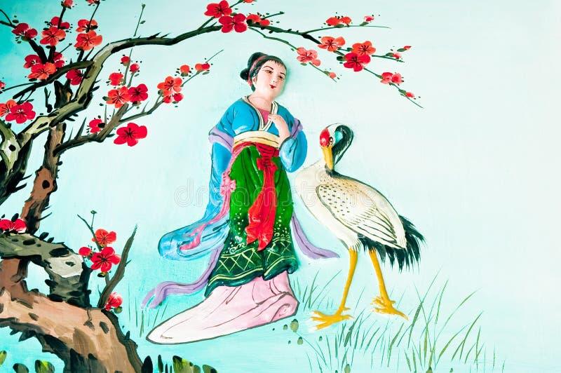 Κινεζική τέχνη στον τοίχο στοκ εικόνα με δικαίωμα ελεύθερης χρήσης