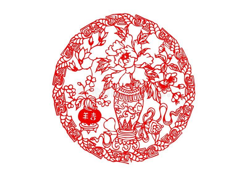 Κινεζική χαρτί-περικοπή: καλή τύχη στοκ εικόνες