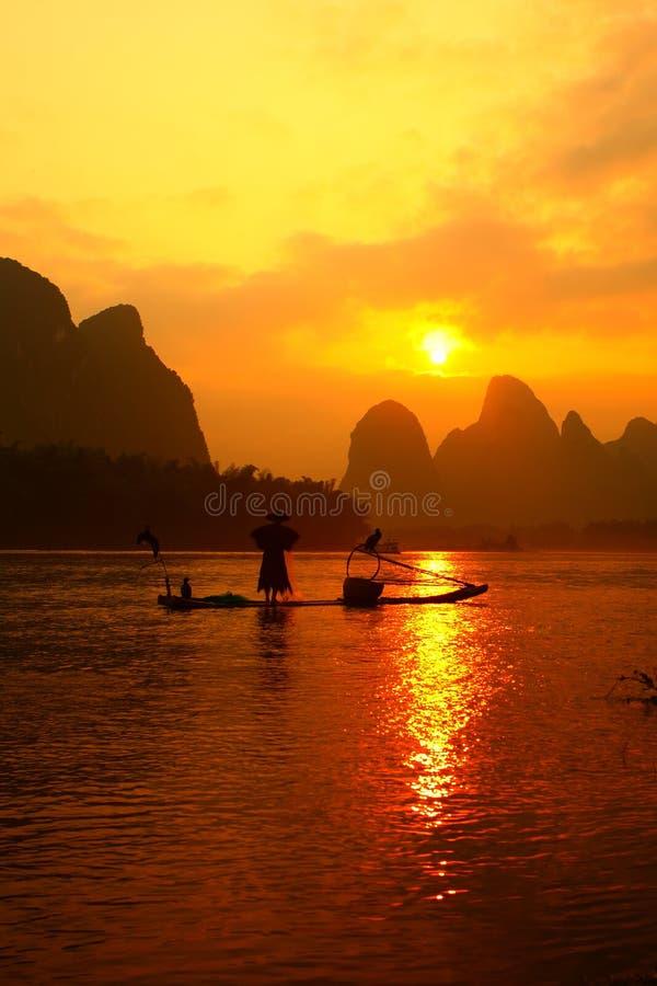 Κινεζική fishman αλιεία στοκ φωτογραφίες με δικαίωμα ελεύθερης χρήσης