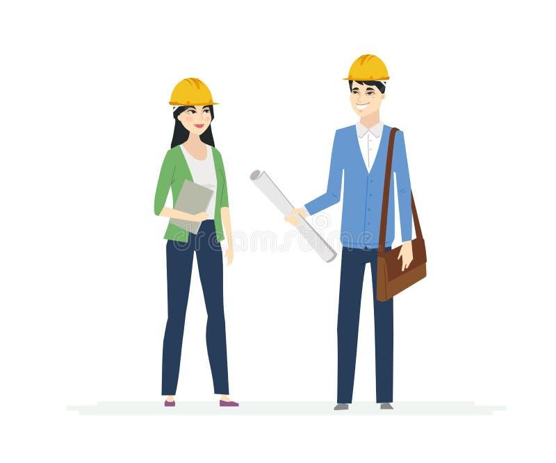 Κινεζικοί εργάτες οικοδομών - απεικόνιση χαρακτήρων ανθρώπων κινούμενων σχεδίων ελεύθερη απεικόνιση δικαιώματος