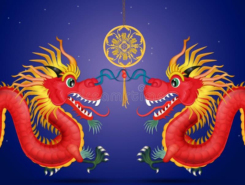 Κινεζικοί νέοι δράκοι έτους ελεύθερη απεικόνιση δικαιώματος