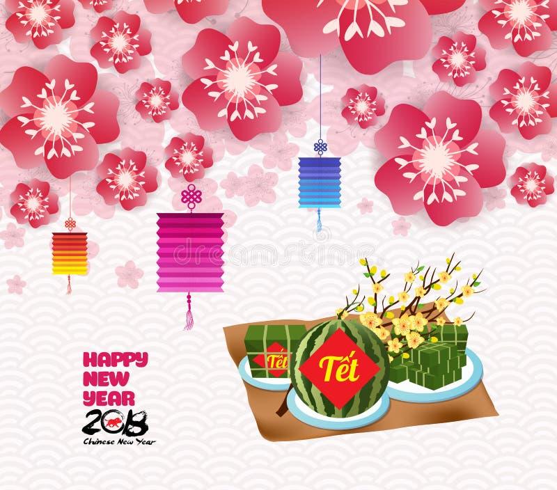 Κινεζικοί νέοι κλάδοι sakura ανθών υποβάθρου έτους, βιετναμέζικο νέο έτος μετάφραση ελεύθερη απεικόνιση δικαιώματος