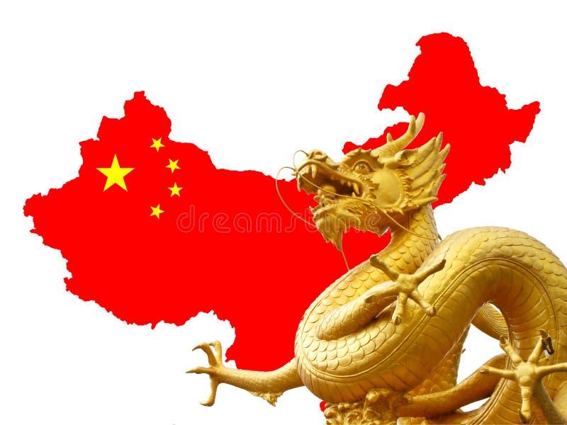 Κινεζικοί χρυσοί δράκος και χάρτης της Κίνας στοκ φωτογραφίες με δικαίωμα ελεύθερης χρήσης
