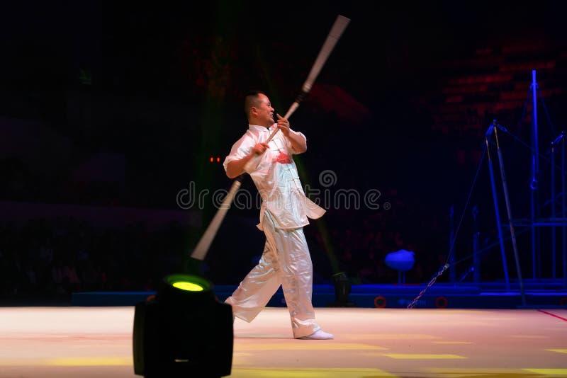 Κινεζικοί gymnasts Wushu στοκ φωτογραφία