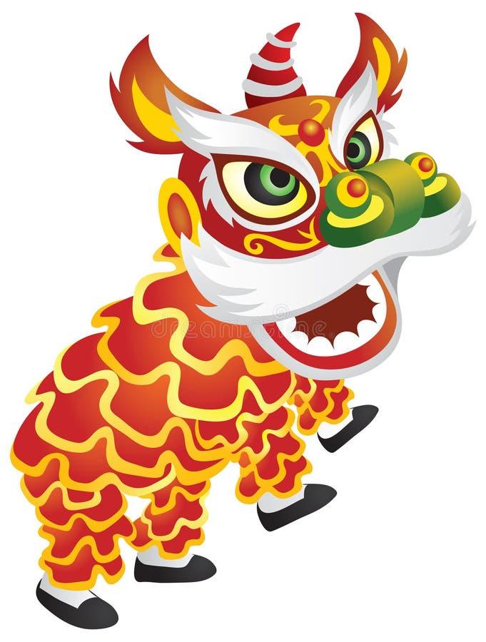 κινεζικός δράκος χορού διανυσματική απεικόνιση