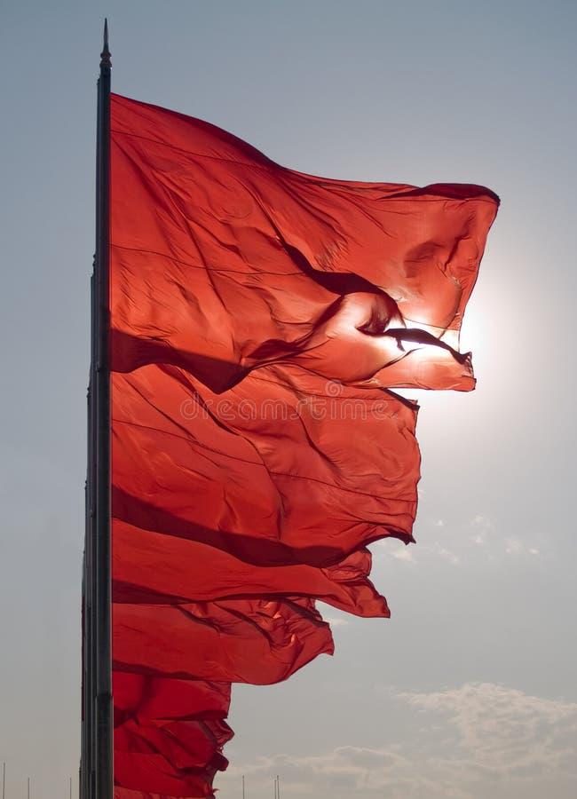 κινεζικός κυματίζοντας αέρας σημαιών στοκ εικόνα