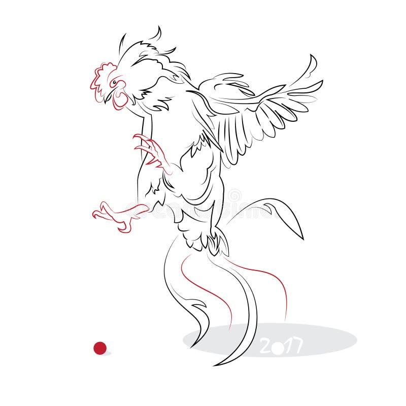 Κινεζικός κόκκορας 2017 καλλιγραφίας απεικόνιση αποθεμάτων