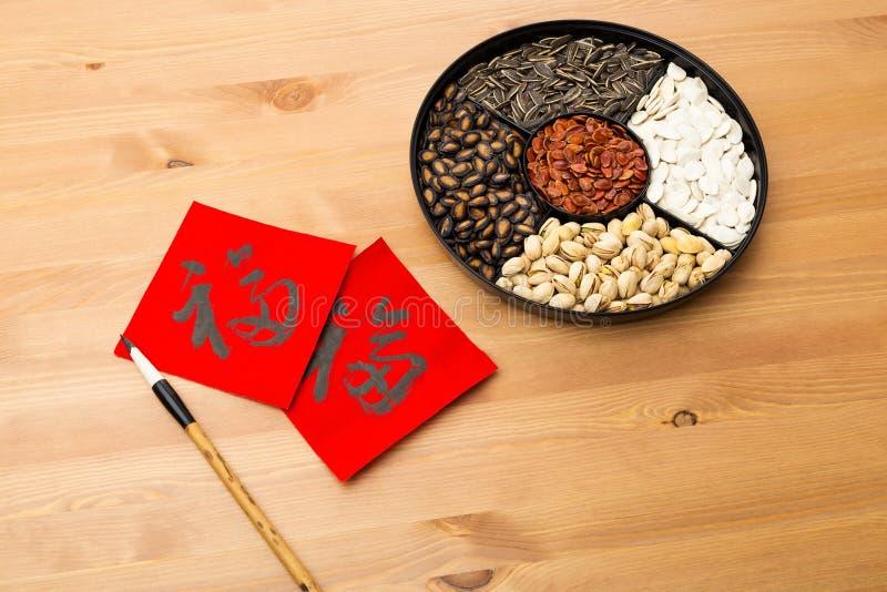 Κινεζικός νέος δίσκος πρόχειρων φαγητών έτους και κινεζική καλλιγραφία, που σημαίνουν για στοκ εικόνες