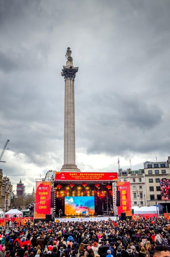 Κινεζικός νέος εορτασμός έτους στη πλατεία Τραφάλγκαρ, Λονδίνο, UK στοκ εικόνες