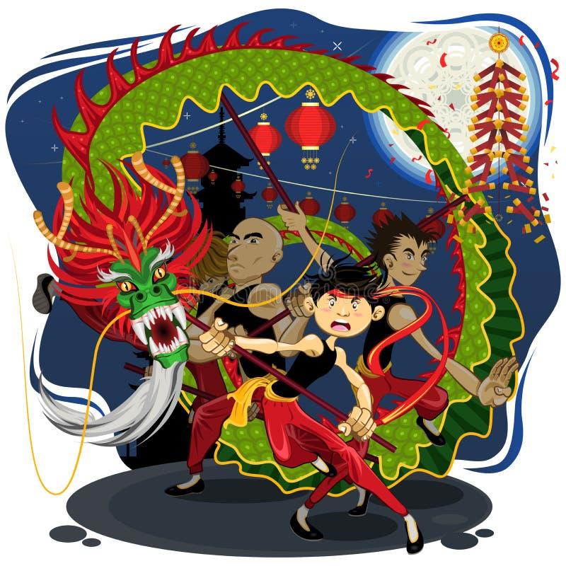 Κινεζικός νέος χορός δράκων έτους ελεύθερη απεικόνιση δικαιώματος