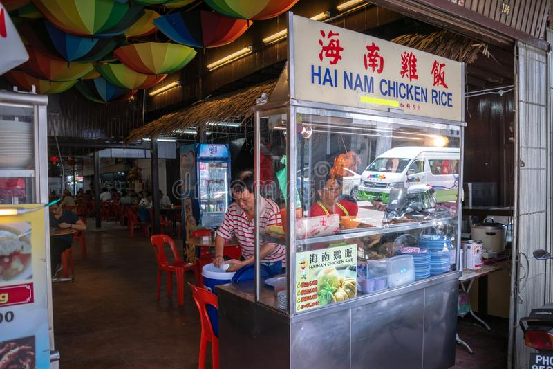 Κινεζικός προμηθευτής εστιατορίων τροφίμων οδών στην Τζωρτζτάουν, Penang, Μαλαισία στοκ εικόνα