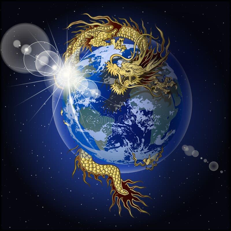 Κινεζικός πλανήτης Γη εκμετάλλευσης δράκων διανυσματική απεικόνιση