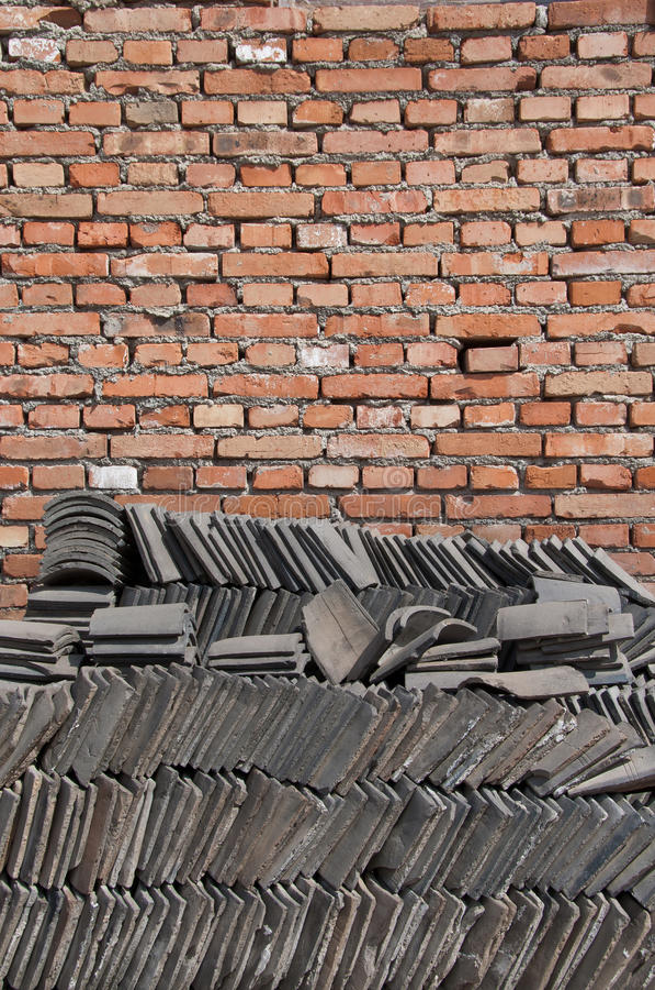 κινεζικός τοίχος κεραμιδιών τούβλου στοκ εικόνες