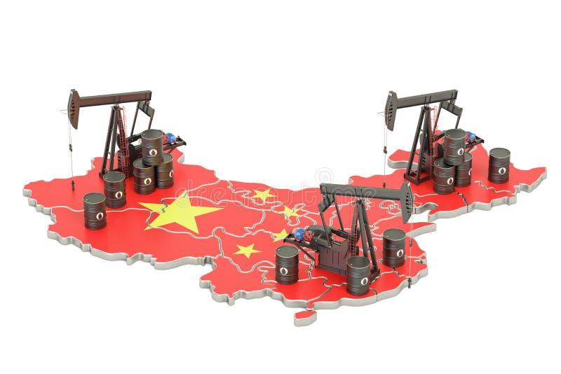 Κινεζικός χάρτης με τα βαρέλια πετρελαίου και pumpjacks Conce παραγωγής πετρελαίου απεικόνιση αποθεμάτων