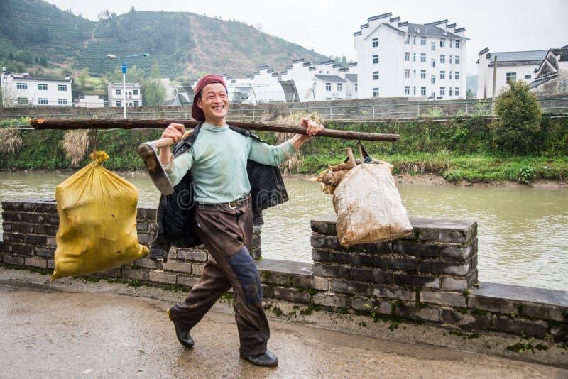 Κινεζικός χωρικός που φέρνει τους φρέσκους βλαστούς μπαμπού στοκ φωτογραφία