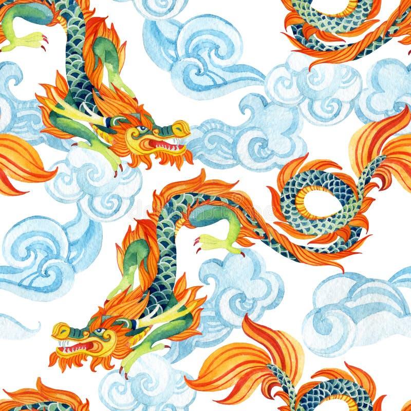 Κινεζικό άνευ ραφής σχέδιο δράκων Ασιατική απεικόνιση δράκων διανυσματική απεικόνιση