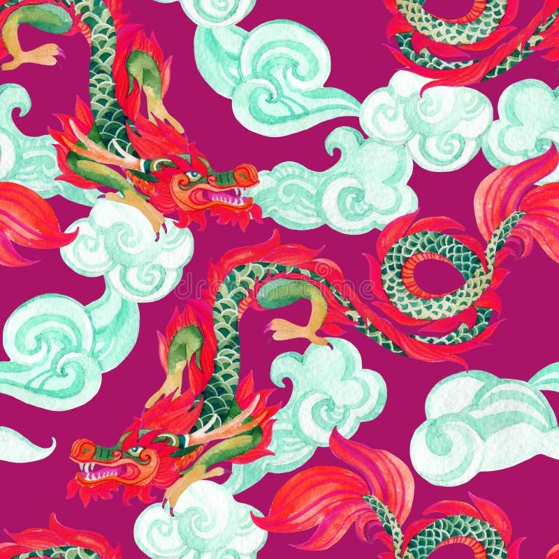 Κινεζικό άνευ ραφής σχέδιο δράκων Ασιατική απεικόνιση δράκων απεικόνιση αποθεμάτων