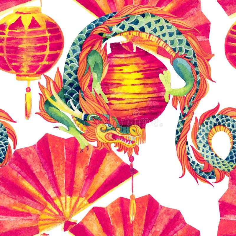 Κινεζικό άνευ ραφής σχέδιο watercolor δράκων διανυσματική απεικόνιση
