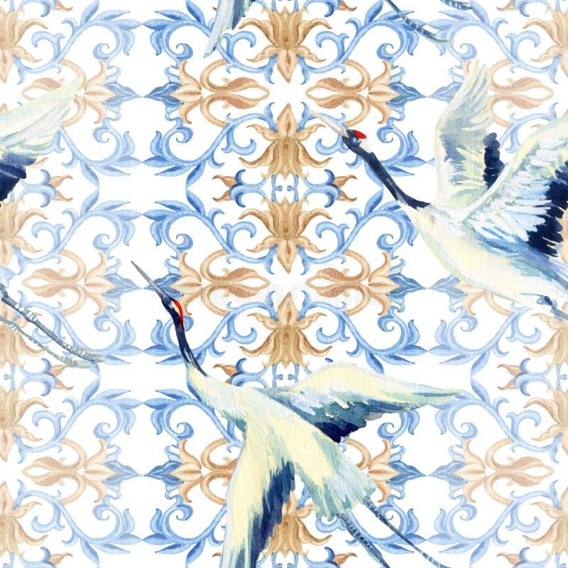 Κινεζικό άνευ ραφής σχέδιο watercolor ελεύθερη απεικόνιση δικαιώματος