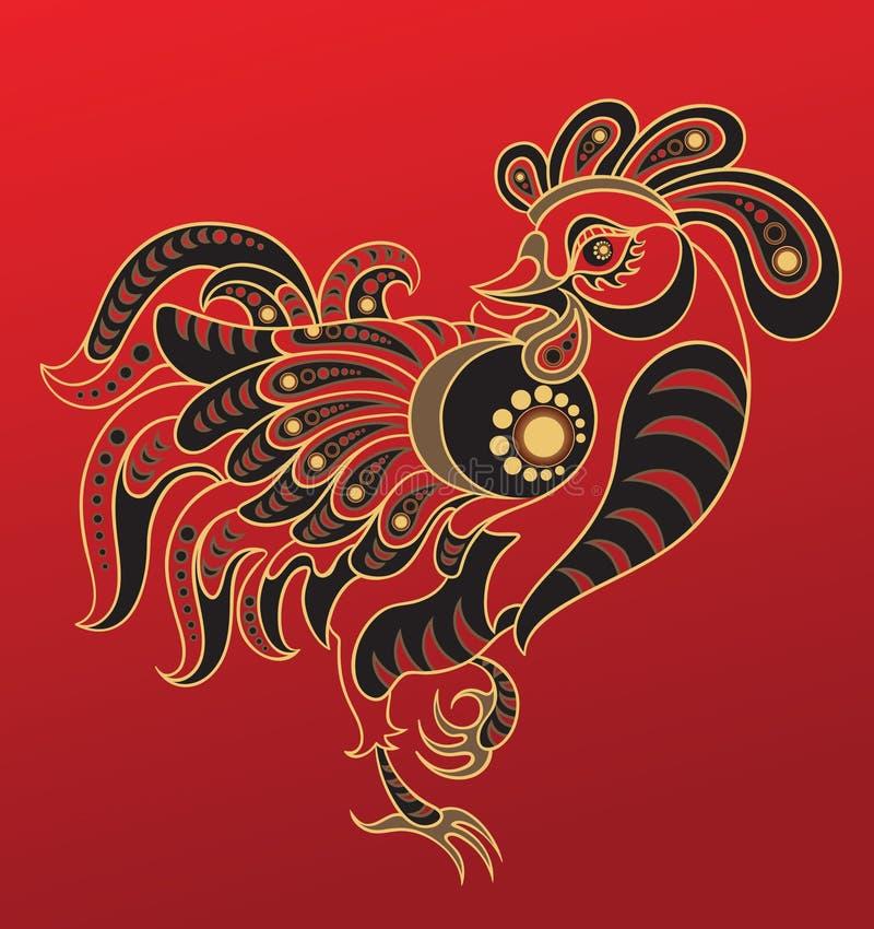 κινεζικό έτος κοκκόρων ω&rho διανυσματική απεικόνιση