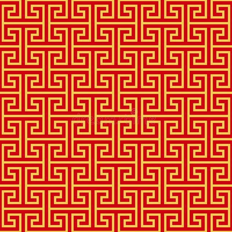 Κινεζικό γεωμετρικό άνευ ραφής σχέδιο διανυσματική απεικόνιση