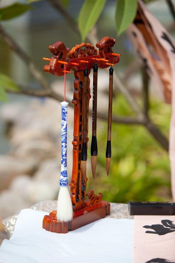 κινεζικό γράψιμο inkstone βουρτ&s στοκ εικόνα