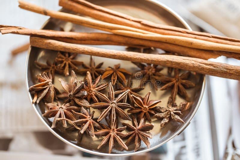 Κινεζικό γλυκάνισο αστεριών με την κανέλα βοτανική στοκ φωτογραφία με δικαίωμα ελεύθερης χρήσης