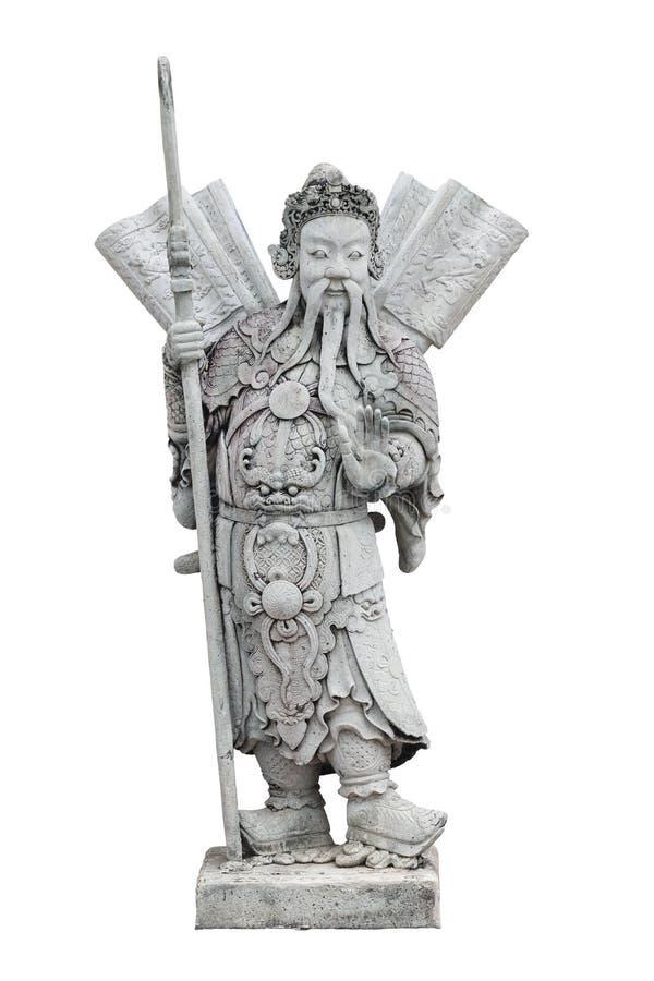 Κινεζικό γλυπτό πετρών πολεμιστών, που απομονώνεται στοκ εικόνες με δικαίωμα ελεύθερης χρήσης
