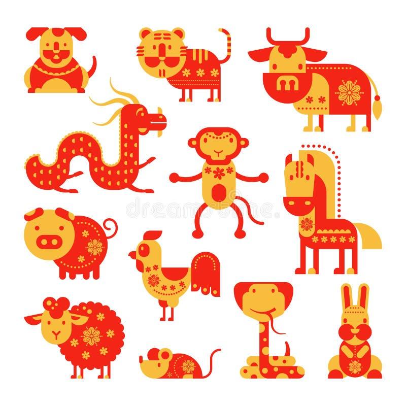 Κινεζικό διανυσματικό horoscopy ζωικό σύμβολο ωροσκοπίων του αστρολογικού ημερολογίου στο σύνολο απεικόνισης της Κίνας ζωώδους Ασ διανυσματική απεικόνιση
