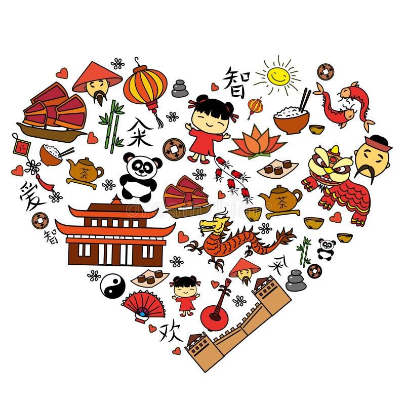 Κινεζικό εικονίδιο κινούμενων σχεδίων που τίθεται στη μορφή καρδιών απεικόνιση αποθεμάτων