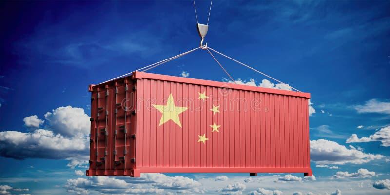Κινεζικό εμπορευματοκιβώτιο σημαιών στο υπόβαθρο μπλε ουρανού r ελεύθερη απεικόνιση δικαιώματος