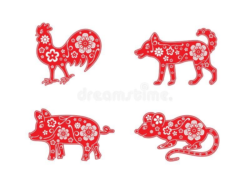 Κινεζικό ζωικό σύνολο ωροσκοπίων Κόκκορας και σκυλί, χοίρος και αρουραίος διακοσμητικό διάνυσμα λ&omi απεικόνιση αποθεμάτων