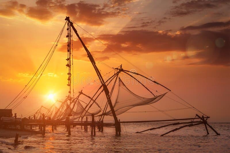 κινεζικό ηλιοβασίλεμα koch Kochi, Κεράλα, Ινδία στοκ εικόνα