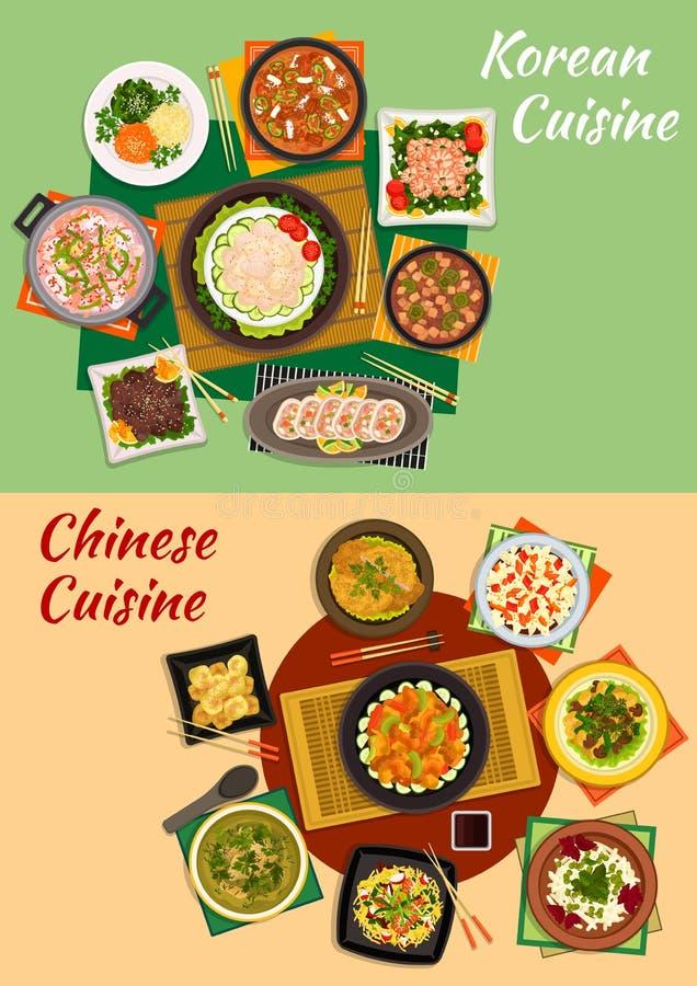 Κινεζικό και κορεατικό εικονίδιο πιάτων κουζίνας διανυσματική απεικόνιση