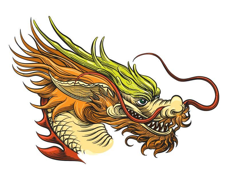 κινεζικό κεφάλι δράκων διανυσματική απεικόνιση