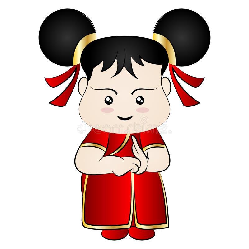 Κινεζικό κορίτσι κινούμενων σχεδίων απεικόνιση αποθεμάτων
