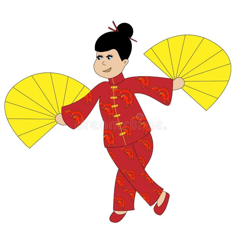 Κινεζικό κορίτσι στα παραδοσιακά ενδύματα που χορεύουν και που κυματίζουν τους ανεμιστήρες απεικόνιση αποθεμάτων
