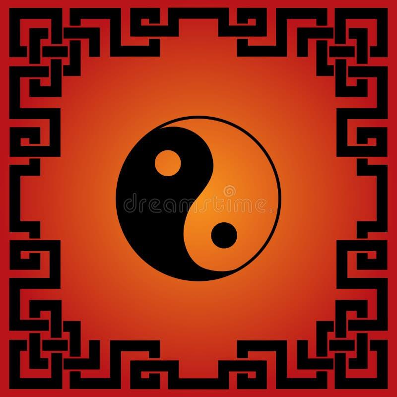 Κινεζικό κόκκινο και μαύρο υπόβαθρο tao απεικόνιση αποθεμάτων