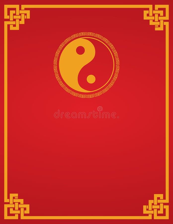 Κινεζικό κόκκινο υπόβαθρο yin yang απεικόνιση αποθεμάτων